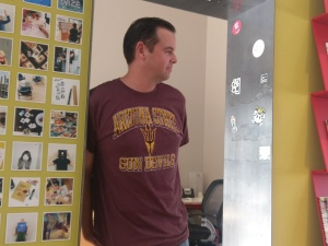 U of A fan Ryan Carr wearing a hated ASU t-shirt