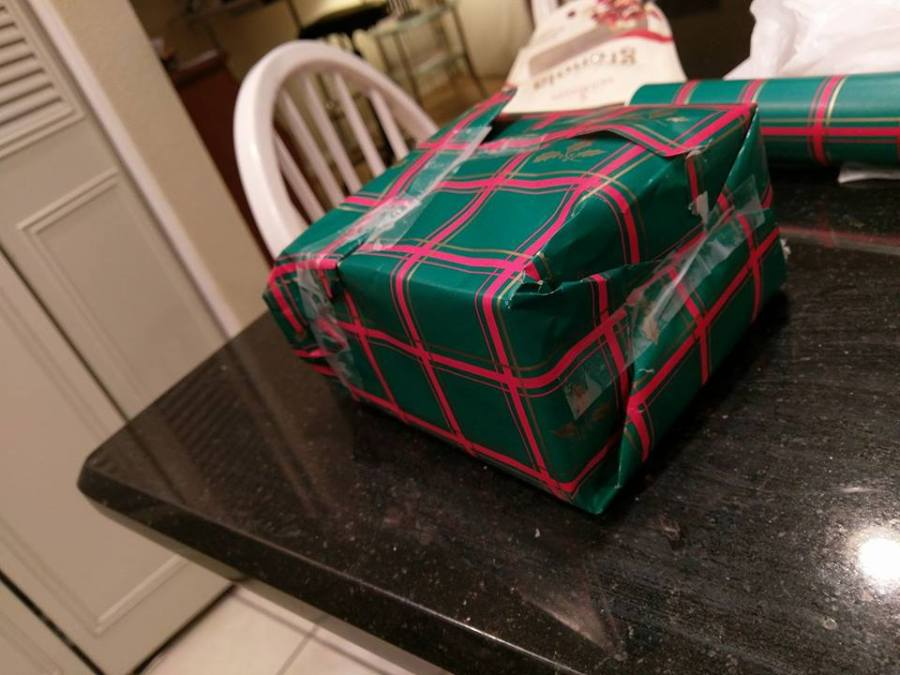 Jacked up wrapping job on a gift