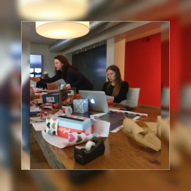 Agency employees making Valentine's Day mailboxes