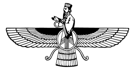 Farvahar. Icon of an angelic being from a Zoroastrianism