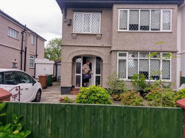English semi-detached house pebbled exterior