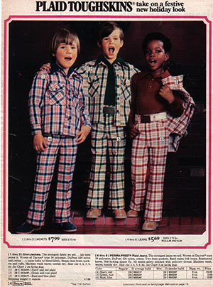 1970s ad with kids in plaid bell bottoms and jackets