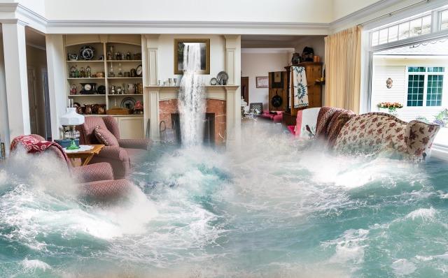 Flooding living room