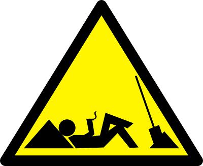 Man not at work sign. Stick figure lounging, smoking a cigarette, shovel down.