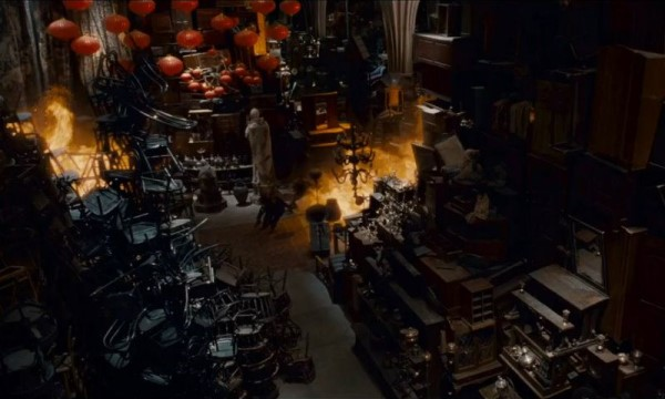 The crowded Room of Requirement from the Harry Potter series.