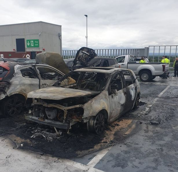 car fire at Manchester airport carpark