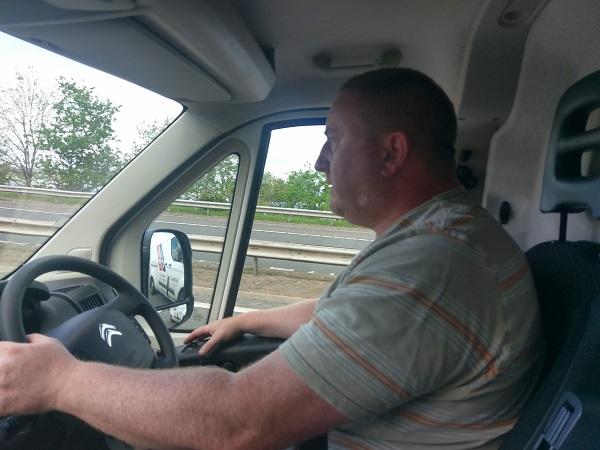 Cousin Bernard driving van