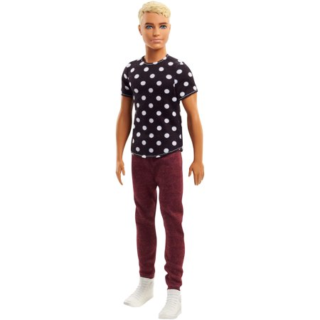 Ken Fashionista doll in black shirt with white polka dots and maroon pants from the Barbie line