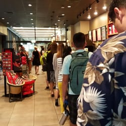 long line at Starbucks